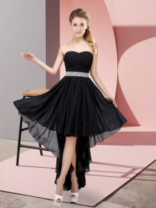 Pretty Chiffon Sweetheart Sleeveless Lace Up Beading Prom Party Dress in Black