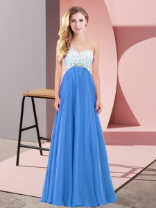 Blue Prom Party Dress Prom and Party with Beading One Shoulder Sleeveless Criss Cross