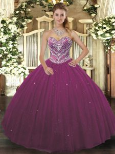 Beading Quinceanera Gown Burgundy Lace Up Sleeveless Floor Length