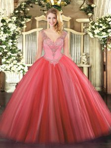 Coral Red Ball Gowns Tulle V-neck Sleeveless Beading Floor Length Lace Up Sweet 16 Quinceanera Dress