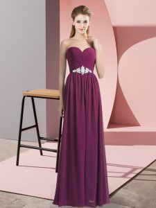 Sleeveless Chiffon Floor Length Lace Up in Dark Purple with Beading
