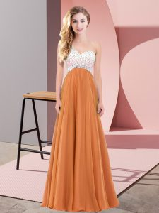 Low Price Sleeveless Floor Length Beading Criss Cross Prom Party Dress with Orange Red