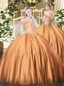 Spectacular Rust Red Ball Gowns Satin Off The Shoulder Sleeveless Beading Floor Length Lace Up Sweet 16 Dress
