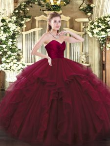 Sweet Wine Red Ball Gowns Ruffles Quince Ball Gowns Lace Up Tulle Sleeveless Floor Length