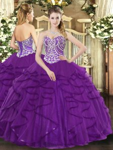 Floor Length Lace Up 15th Birthday Dress Purple for Military Ball and Sweet 16 and Quinceanera with Beading and Ruffles