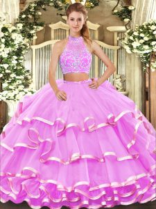 Lilac Tulle Criss Cross Halter Top Sleeveless Floor Length Quinceanera Dress Beading and Ruffled Layers