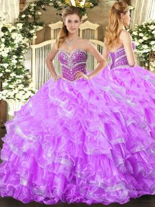 Elegant Sweetheart Sleeveless Organza Sweet 16 Quinceanera Dress Beading and Ruffled Layers Lace Up