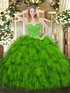 Sweetheart Sleeveless Lace Up Quinceanera Gowns Green Organza