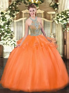Orange Red Halter Top Neckline Beading and Ruffles Quince Ball Gowns Sleeveless Lace Up