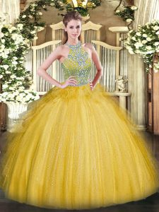 Fancy Halter Top Sleeveless Sweet 16 Quinceanera Dress Floor Length Beading and Ruffles Gold Tulle