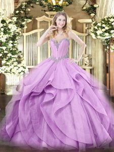 High Quality Lavender Quinceanera Dress Military Ball and Sweet 16 and Quinceanera with Beading and Ruffles Sweetheart Sleeveless Lace Up