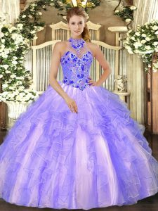 Ball Gowns Vestidos de Quinceanera Lavender Halter Top Organza Sleeveless Floor Length Lace Up