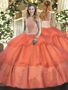 Orange Red High-neck Lace Up Beading and Ruffled Layers Quinceanera Gowns Sleeveless