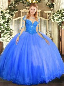 Custom Designed Ball Gowns Vestidos de Quinceanera Blue Scoop Tulle Long Sleeves Floor Length Lace Up