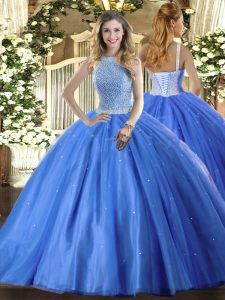 Admirable Floor Length Lace Up Quinceanera Gowns Baby Blue for Military Ball and Sweet 16 and Quinceanera with Beading