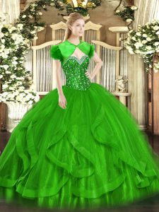 On Sale Green Ball Gowns Beading and Ruffles Sweet 16 Dress Lace Up Tulle Sleeveless Floor Length