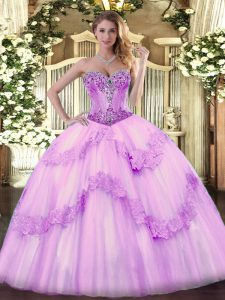 Hot Sale Floor Length Lace Up Quinceanera Gowns Lilac for Sweet 16 and Quinceanera with Beading