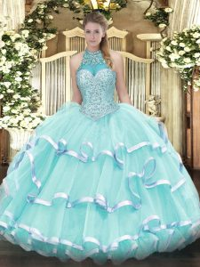 Fine Apple Green Sleeveless Beading and Ruffled Layers Floor Length Quinceanera Dress