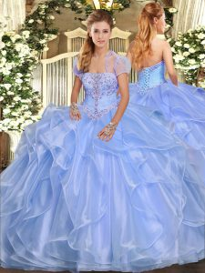 Light Blue Sleeveless Floor Length Appliques and Ruffles Lace Up Ball Gown Prom Dress