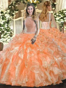 Excellent Organza Sleeveless Floor Length Sweet 16 Dress and Beading and Ruffles
