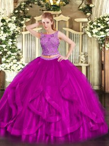 Colorful Fuchsia Organza Zipper Scoop Sleeveless Floor Length 15 Quinceanera Dress Beading and Ruffles