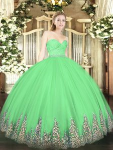 Green Ball Gowns Sweetheart Sleeveless Tulle Floor Length Zipper Beading and Lace and Appliques Quinceanera Dresses