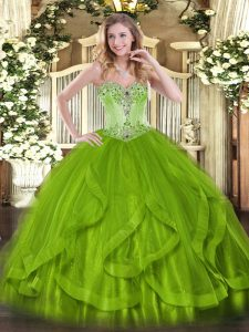 High End Olive Green Sweetheart Neckline Beading and Ruffles Vestidos de Quinceanera Sleeveless Lace Up