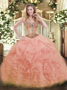 Cute Floor Length Peach Sweet 16 Dress Sweetheart Sleeveless Lace Up