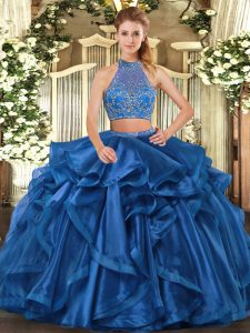 Inexpensive Blue Organza Criss Cross Halter Top Sleeveless Floor Length Quinceanera Dresses Beading and Ruffled Layers