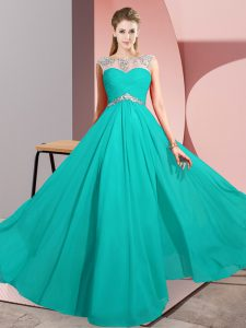 Glamorous Floor Length Clasp Handle Prom Evening Gown Turquoise for Prom and Party with Beading
