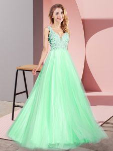 Floor Length Apple Green Prom Gown Tulle Sleeveless Lace