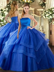 Sexy Floor Length Ball Gowns Sleeveless Royal Blue Sweet 16 Dresses Lace Up