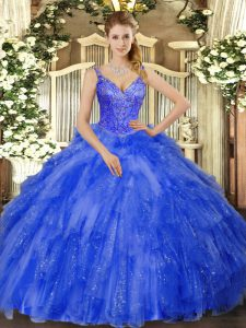 Dramatic Floor Length Royal Blue Quince Ball Gowns Tulle Sleeveless Beading and Ruffles