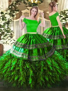 Floor Length Zipper Quinceanera Dresses Green for Military Ball and Sweet 16 and Quinceanera with Embroidery and Ruffles