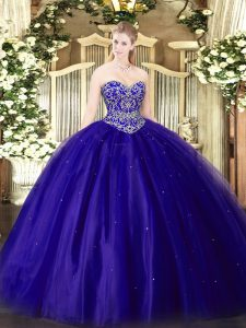 Fitting Beading Sweet 16 Quinceanera Dress Blue Lace Up Sleeveless Floor Length