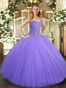 Lavender Quinceanera Gowns Military Ball and Sweet 16 and Quinceanera with Beading Sweetheart Sleeveless Lace Up