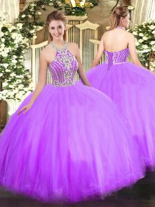 Floor Length Lilac Sweet 16 Dresses Halter Top Sleeveless Lace Up
