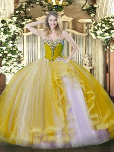 Amazing Gold Tulle Lace Up Sweet 16 Dress Sleeveless Floor Length Beading and Ruffles