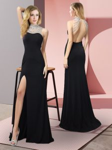 Best Selling Black High-neck Backless Beading Prom Gown Sleeveless