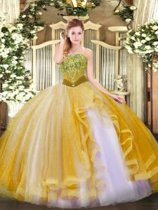 Stylish Gold Sleeveless Tulle Lace Up Vestidos de Quinceanera for Military Ball and Sweet 16 and Quinceanera