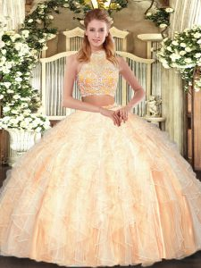 Eye-catching Halter Top Sleeveless Ball Gown Prom Dress Floor Length Beading and Ruffles Peach Tulle