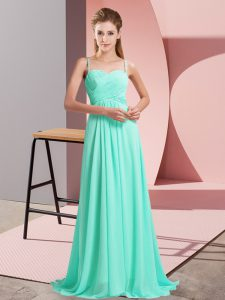 Turquoise Sleeveless Sweep Train Ruching Dress for Prom