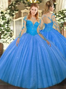 Floor Length Baby Blue Vestidos de Quinceanera Tulle Long Sleeves Lace