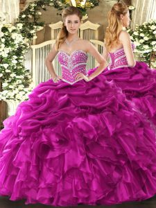 Fuchsia Sweetheart Lace Up Beading and Ruffles and Pick Ups Quinceanera Dresses Sleeveless