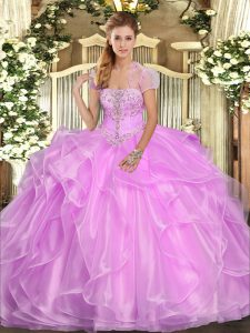 Lilac Sleeveless Floor Length Appliques and Ruffles Lace Up Quinceanera Gown