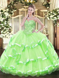 Lace Up Vestidos de Quinceanera Appliques and Ruffled Layers Sleeveless Floor Length