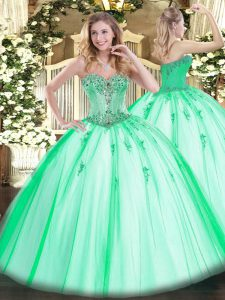 Tulle Sleeveless Floor Length Quince Ball Gowns and Beading and Appliques
