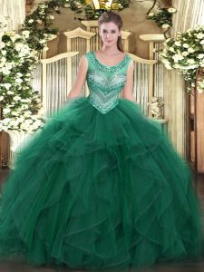 Ball Gowns Sweet 16 Quinceanera Dress Dark Green Scoop Tulle Sleeveless Floor Length Lace Up