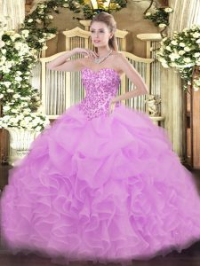 Lilac Ball Gowns Lace and Ruffles and Pick Ups Sweet 16 Quinceanera Dress Lace Up Organza Sleeveless Floor Length