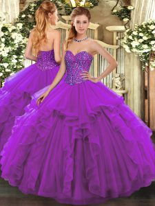 High Quality Sweetheart Sleeveless Tulle Quinceanera Gown Beading and Ruffles Lace Up